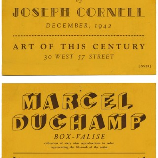 ART OF THIS CENTURY. Joseph Cornell / Marcel Duchamp / Lawrence Vail: OBJECTS BY JOSEPH CORNELL / BOX-VALISE / BOTTLES. December 1942.
