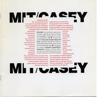 Casey, Jacqueline. Ellen Lupton: MIT/CASEY: THIRTY YEARS OF POSTER DESIGN AND MORE. The Cooper Union, 1989.