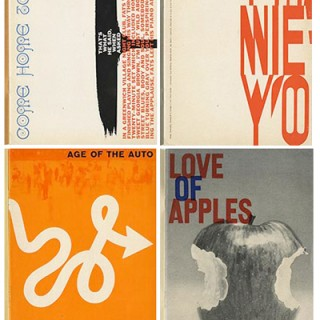 About U. S. Experimental Typography. COME HOME TO JAZZ: Herb Lubalin; THAT NEW YORK: Brownjohn, Chermayeff & Geismar; THE AGE OF THE AUTO: Lester Beall; and LOVE OF APPLES: Gene Federico. The Composing Room, 1960.