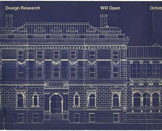 DESIGN RESEARCH WILL OPEN OCTOBER 15TH [card title]. Philadelphia: Design Research, [1975]. Placard for the opening in Rittenhouse Square on October 15, 1975.