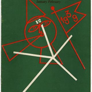 """DIRECTION Volume 2, No. 1, January/February 1939. Paul Rand Cover Design; Calendar of the World: Le Corbusier; """"Primitive Music"""" mural by Seymour Fogel."""
