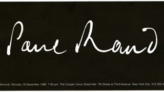 Rand, Paul: PAUL RAND. New York: The Cooper Union, December 1996. Memorial Service announcement card.