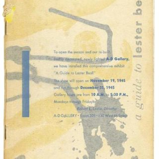 Beall, Lester: A GUIDE TO LESTER BEALL [November 19 – December 31]. New York: The Composing Room/A-D Gallery, 1945.