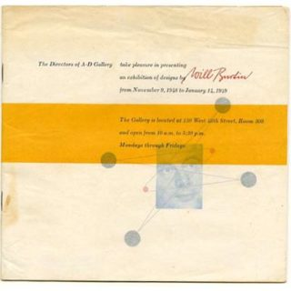 Burtin, Will: A-D PRESENTS W B [Envelope title]. New York: The Composing Room/A-D Gallery, 1948.