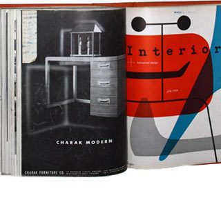 INTERIORS + INDUSTRIAL DESIGN, February – July 1949. New York: Whitney Publications,  Volume 108, nos. 7 – 12, edited by Francis de N. Schroeder.
