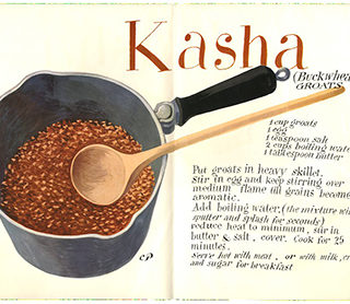 Pineles, Cipe: KASHA [Buckwheat Groats]. [New York: Self-Published, c. 1955].  Christmas Greeting from Cipe, Bill and Tom Golden.
